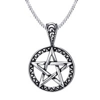 """Wholesale Pewter Gothic Pendants Wholesale - Vintage Style Jewelry Pentagram Pentacle Pagan Wiccan Witch Gothic Pewter Pendant Necklace for Men Woman 24"""" Chain Choker PN-566"""
