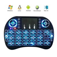 Wholesale Touch Pad Smart Tv - Rii Mini i8+ Keyboard Backlight English For Android TV Box Remote Control 2.4G Wireless Keyboard With Touch Pad For Smart TV PC