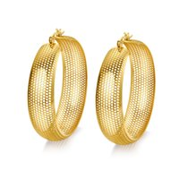 Wholesale Wholesale Wide Hoop Earrings - Gold Plated Big Earrings Wholesale Gold Color Hoop Earrings Jewelry Wholesale13mm Wide Hoop Earrings For Women EH-101