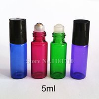 Wholesale 5ml Roll on Glass Bottle with Glass Metal Roller Ball for Fragrant Perfume Essential Oil Pink Blue Green