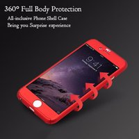 Wholesale Phone Clear Full Case - 360 Full Body Coverage Coque Phone Cases for iPhone 5 5s SE 6 6s Plus 7 7plus Hard PC Protective Cover Free Clear Screen Tempered film
