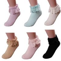 Wholesale White Socks Ruffles - Wholesale-Women Vintage Lace Ruffle Frilly Ankle Socks Princess Girl Cotton Sock