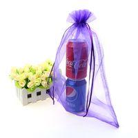 organza taschen logo großhandel-Großhandels-25x35cm purpurrote Süßigkeits-Verpackung sackt Organza-Taschen-fördernde Geschenke kundengebundene Logo-Tasche Saco De Organza 100pcs / lot ein