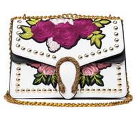 Wholesale Vintage Embroidered Cover - Vintage Embroidered Flowers Shoulder Bag For Women Tiger Head Chain Floral Handbag Retro Rivet Crossbody Bag