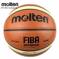 литье в коже оптовых-Официальный размер 7 расплавленный Gg7 / Gg7x баскетбол PU кожаный Homme баскетбольный мяч для IndoorOutdoor обучение с корзиной мяч чистой