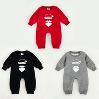 Wholesale Cotton Velveteen Wholesale - Hot!!! 2016 Christmas baby rompers cotton velveteen warm jumpsuit long sleeve for Autumn and winter free shipping santa's beard