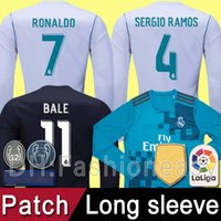 Wholesale Cheap Thailand Jerseys - Top thailand AAA cheap 2017 2018 Real Madrid RONALDO Soccer Jerseys 17 18 Football Long Full sleeves Shirts Camisetas uniforms with patch