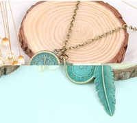 Wholesale Statement Necklace Vintage Leaves - leaves dial necklace Brand Big Luxury Statement Pendant Necklace Vintage Maxi Women Accessories Rope Chain Feather Pattern C240