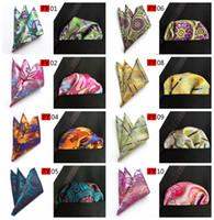 Wholesale Silk Handkerchief Ties - 2017 New Arriver Men Paisley tie Pattern Pocket Square Handkerchief Silk Paisley Men Hankies for Men Suit Square