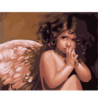 Wholesale Paints For Kids - Angel Wings Diy Oil Painting Canvas Wall Art Kits for Adults Girls Kids White Christmas Decor Decorations Gifts