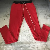 Wholesale Cords Pants - New Fear Of God Contrast Waistline Joggers Zipped Ankel Long Draw Cord Slim Fit Pants Vintage Red Free Shipping
