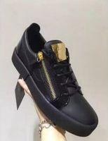 Wholesale Double Sheets - Hot Sales Fashion Brand Shoes Men Women Casual Low Top Black Leather Sports Shoes Double Zipper Flat Men Sneakers Iron Sheets Shoes