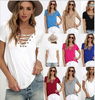 Wholesale Ladies Half T Shirts - Women's Clothing Womens Casual Tees Summer T shirt Tops Ladies Grey Ribbed Crisscross Front Half Sleeve Cold Shoulder T-shirt