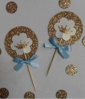 Wholesale custom wedding cupcake picks resale online - Custom Glitter prince boy crown children birthday cupcake toppers Food Picks Wedding baby shower kidsParty cake decorations Party Supplies