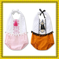 Wholesale Ball Onesies - Baby National Style Backless Onesies Rompers Infants Toddler Embroidered Tassels Ball Jumpsuits Girls Kids Children Suspender Rompers Wear