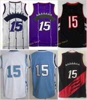 Wholesale Heels Blue White - Retro 15 Vince Carter Basketball Jerseys North Carolina Tar Heels College Vince Carter Throwback Blue Black White Purple Stitched With Name