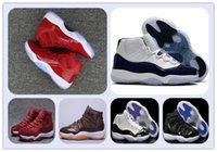 Wholesale Velvet Mens Shoes - With box (11)XI CHICAGO GYM red 11s Midnight Navy Space jam black Velvet 72-10 Basketball shoes Mens Sports shoe 11s bred woman Athletics