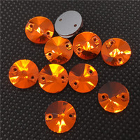 Wholesale Orange Sew Stones - Orange Hyacinth 8~18mm Round Sewing Glass Crystal Rivoli Sew On Crystal Stones Silver Foiled Back Stone Beads