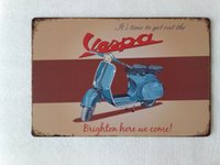 Wholesale vintage vespa scooters for sale - Group buy T Ray Vespa Scooter tin sign Vintage home Bar Pub Hotel Restaurant Coffee Shop home Decorative Metal Retro Metal Poster Tin Sign