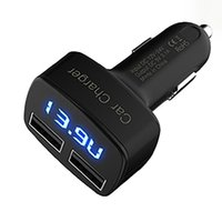 Wholesale Pc Diagnostic Usb - 4 In 1 Car Charger 5V 3.1A Quick Charge Dual USB Port LED Display Adapter Car Voltage Diagnostic for Mobile Phone PC MP3