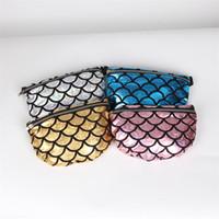 balıkçılık çantası paketi toptan satış-Bir Omuz Çantası Mermaid Sequins Balık Pulu Bel Paketi Çok Fonksiyonlu Fermuar Saklama Torbaları Tuvalet Paketi Ayarlanabilir Boyutu 12lja C R