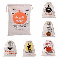 New Halloween Sacs Canvas Cotton Drawstring Personalized Print Enfants Candy Cadeaux Sac Party Pumpkin Bag Hot Sale