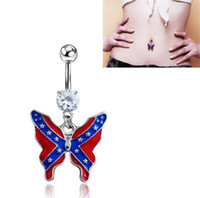 Wholesale Piercing Nail Ring - Medical steel Prevent allergies body piercing belly button rings lovely national flag butterfly pendant navel rings umbilical nail 2991