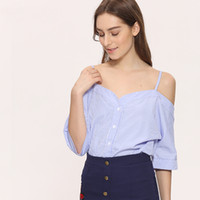 Wholesale Sexy Korean Lady Blouse - Off Shoulder Blouse Shirt Women Summer New Fashion Korean Style 2017 Sweet Slash Neck Tops Stripe Sexy Shirts Ladies Clothing