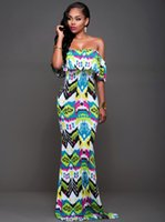 Wholesale Adult Satin Night - Hot luxury evening elegant dress flower print dresses ruffled neck women summer long maxi dress 4 colors F0763
