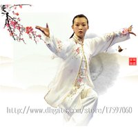 Wholesale Women Tai Chi Uniform - Chinese Tai chi clothing Kungfu uniform taiji sword suit performance outfit embroidered garment for women men girl boy children adults kids
