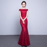 Wholesale Long Train Silk Robe - Long Elegant Lace Mermaid Red Evening Dress 2017 Cheap Price Crystal Prom Dresses Boat Neck Party Dress Robe De Soiree