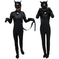 Wholesale Cat S Mask - Kids Miraculous Ladybug Cat Noir Cosplay Costume With Mask Ladybug Black Romper Costume Bodysuit Halloween Tight Jumpsuit