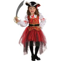 Deluxe Kinder Kind Mädchen Piraten Kostüm Karneval Halloween Prinzessin Fairy Fancy Dress up Royal Cosplay Kleid mit Hut Gürtel