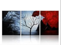 Wholesale Cloud Wall Art - genuine Hand Painted Contemporary Wall Decor Cloud Tree Landscape Art Oil Painting.Multi customized sizes Framed Available lufeng