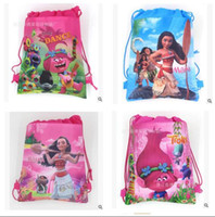 Wholesale Shoulder Girls School Bags - Trolls Bags Kids Backpacks Drawstring Moana Cartoon Non Woven Sling Bag School Bags Girls Party Gift Bag Birthday Free Shipping 12PCS  LOT