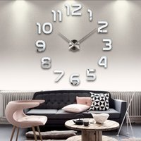Wholesale Wholesale Calendar Stickers - Wholesale-2016 sale new real living room clocks 3d mirror sticke Big wall clock home decoration acrylic diy watch stickers free shipping