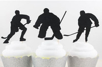 Wholesale Cheap Baby Decorations - cheap 30pcs Custom Ice Hockey Silhouette Cupcake Toppers sports event Party Picks baby shower wedding birthday toothpicks decorations