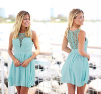 Wholesale Mint Prom Dress Knee Length - 2017 Mint Green Short Country Boho Bridesmaid Dresses Crochet Lace Chiffon Knee Length Summer Beach Bridesmaid Gowns Cheap Prom Party Dress