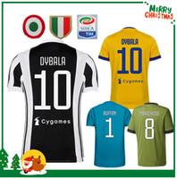 Wholesale Red Black Shirts - 120th anniversary 17 18 DYBALA HIGUAIN POGBA soccer jersey 2017 2018 Italy away CUADRADO KHEDIRA MARCHISIO MANDZUKIC CHIELLINI BUFFON shirt