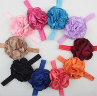 Wholesale Wide Lace Headband Wholesale - Kids Baby Girl Toddler Lace Rose Flower Headband Wide Band Hairband Soft Elastic Hair Band Headwear Accessories YH564