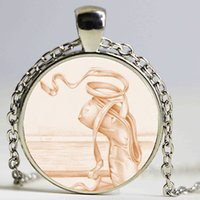 Wholesale Dancer Jewelry Necklace - Ballet Dance Girl Photo Choker Necklace Pink Ballet Slippers Dancing Shoes Dancer Pendant Dancing Jewelry Girls Gifts