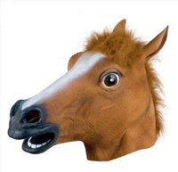 Wholesale Horse Mask Cheap - New Cheap Price Creepy Horse Mask Head Halloween Costume Theater Prop Novelty Hot Sales Head Latex Rubber Party Masks