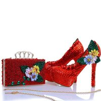 Wholesale Shoes Match Clutches - 2017 New Design Red Rhinestone Heels with Matching Bag Appliques and Crystal Wedding Bridal Shoes Party Prom Pumps with Clutch