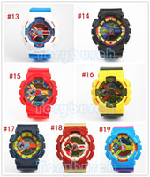 Wholesale Color Pins - 5pcs lot relogio G110 men's sports watches, LED chronograph wristwatch, military watch, digital watch, good gift for men & boy, dropship