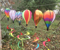 Wholesale Rainbow Stock - 2017 NEW Rainbow Stripe Grid Windsock Hot Air Balloon Wind Spinner Garden Yard Outdoor Decoration in stock