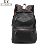 Wholesale Western Style Leather Bags - Wholesale- 2016 New Arrival Oil Wax PU Leather Backpack For Men Western College Style Bags Men's Casual Backpack & Travel Bags For women