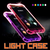 Wholesale Cheap Customized Iphone Cases - LED Flash Light Up Case Cheap TPU Remind Incoming Call Cover For iphone 7 plus 6 6s SE 5S 5 Samsung S8 S7 Edge Clear Transparent Skin 1pcs