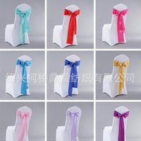 Wholesale Decorated Butterflies - Chair Sashes Satin Elastic Butterfly Tie Chairs Back Cover Wedding Hotel Knot Decorate Flower Ribbon Bowknot Prop 1 2kq F