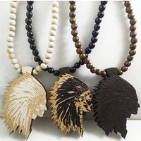 Wholesale Indian Wooden Pendants - Indian Chief Good Wood NYC Hip Hop Jewelry Men Wooden Necklace Wholesale