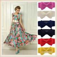 Wholesale Elastic Stretch Bows - Fashion Women elastic waist belt 2015 hot Candy kinds Chiffon Bow Belts All-match Wide Stretch Waist Elastic Cummerbun